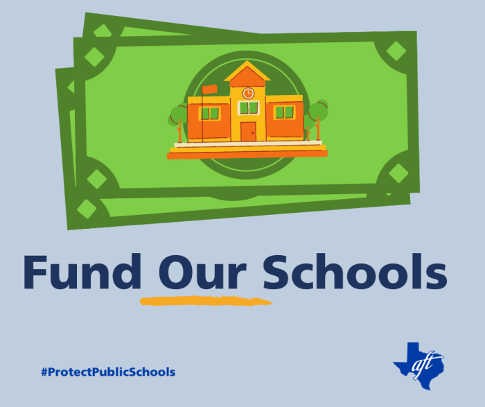 """Text says """"Fund Our Schools"""" with the word """"our"""" underlined. There is an illustration of cash with a school building on it."""