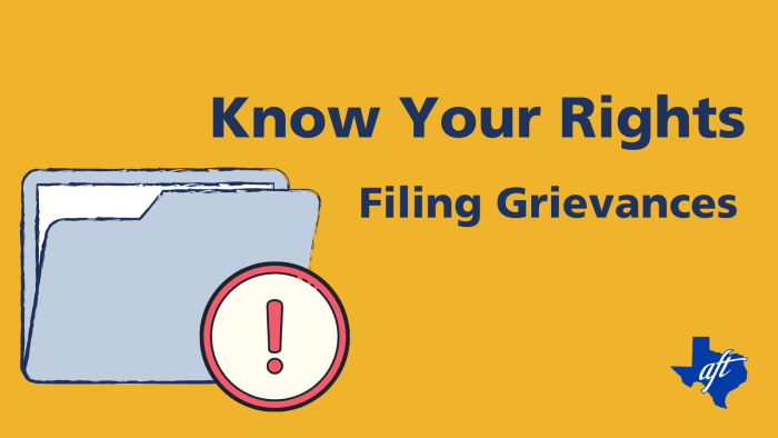 """Text says, """"Know Your Rights, Filing Grievances"""""""
