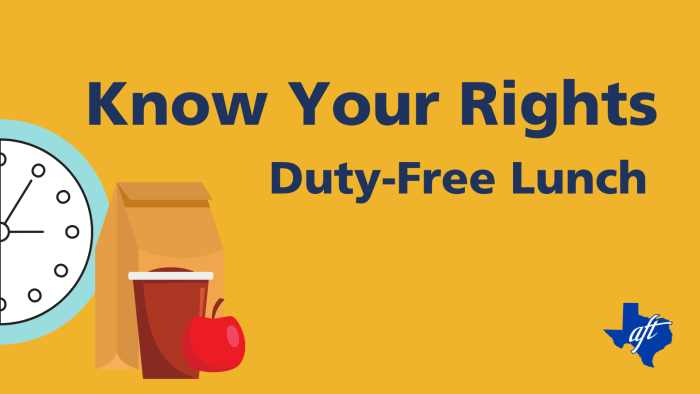 """Text says, """"Know Your Rights, Duty-Free Lunch"""""""