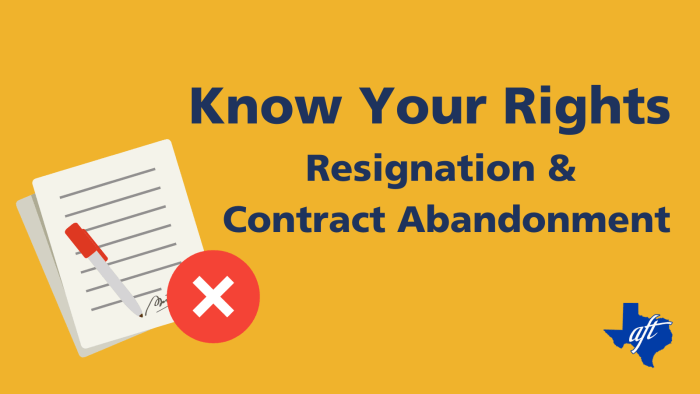 """Text says, """"Know Your Rights: Resignation and Contract Abandonment."""""""