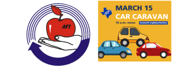 Fort Bend AFT logo with graphic promoting the March 15 car caravan