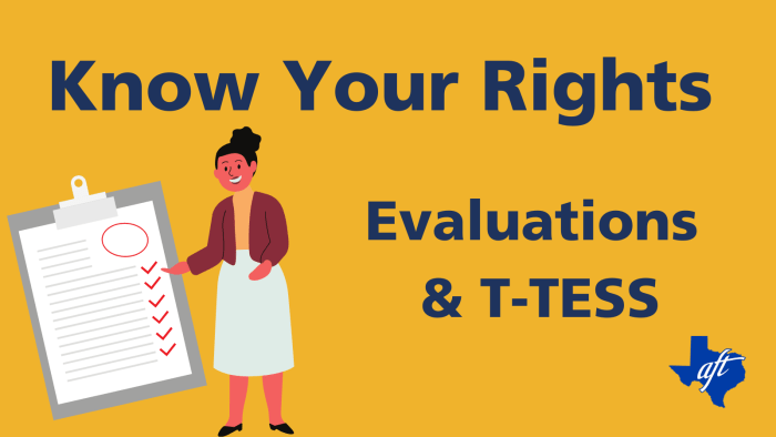 """Text says, """"Know Your Rights, Evaluations and T-TESS."""""""
