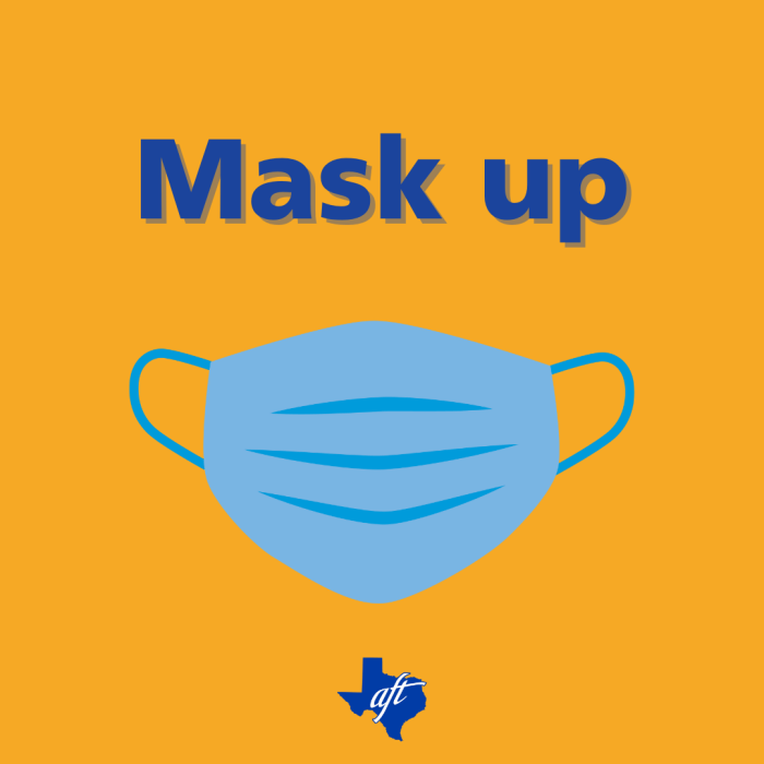 """Text says """"Mask up."""" Illustration of a face mask is below."""
