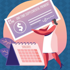 Graphic of woman holding giant supplemental payment check above a January calendar