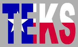 Texas flag fill in letters of T-E-K-S