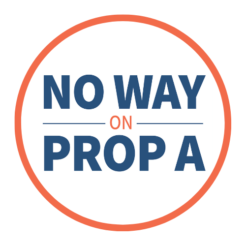 Dark blue text in red-bordered circle reads: No way on Prop A
