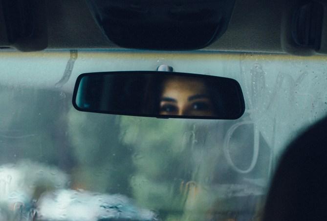 rear-view mirror cautious