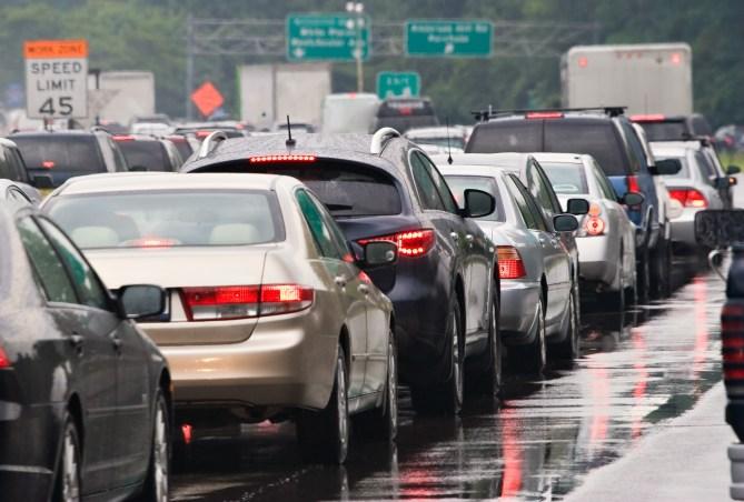 heavy highway traffic jam