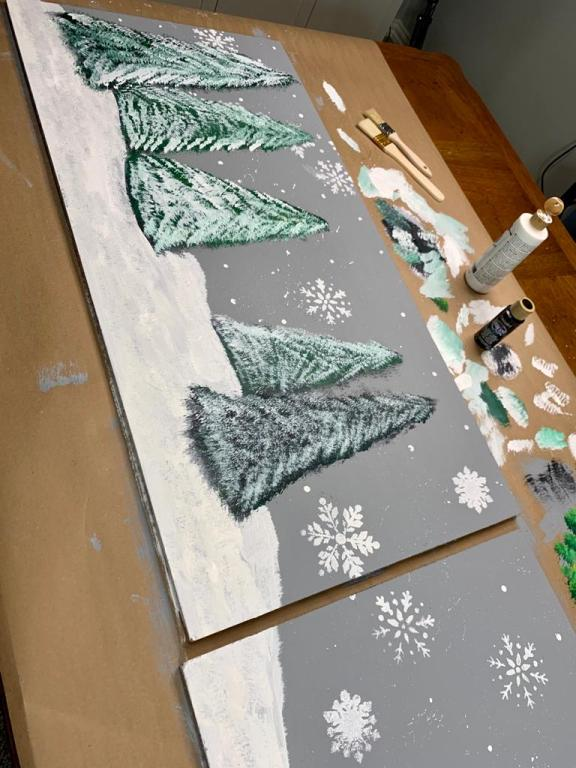 Painting of a winter scene backdrop for mantel