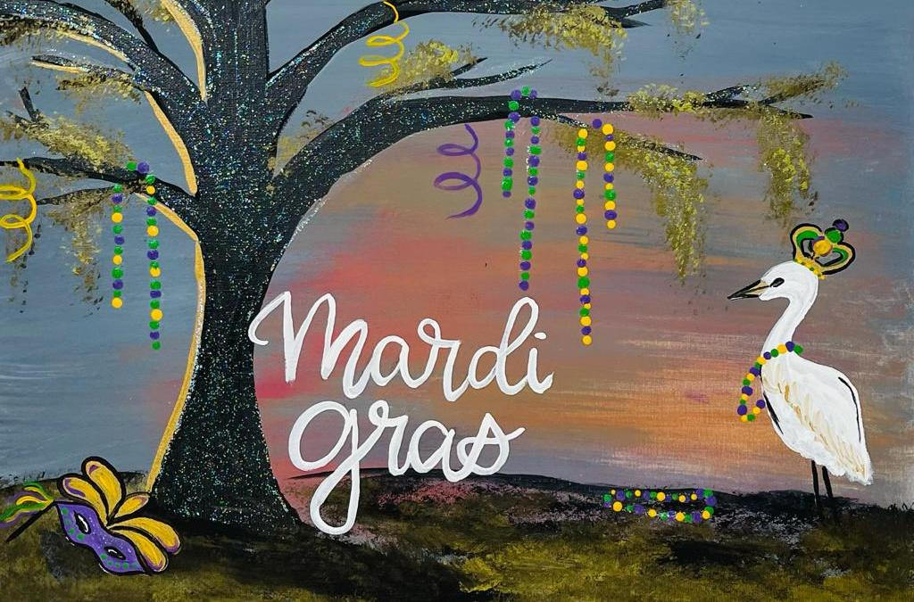 How to Paint An Easy Mardi Gras Landscape