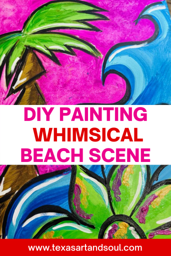 DIY Painting Whimsical Beach Scene Pinterest Pin with image of acrylic painting of a palm tree, flower and waves