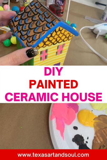 DIY painted ceramic house with balloons pin for pinterest with image of ceramic house painted