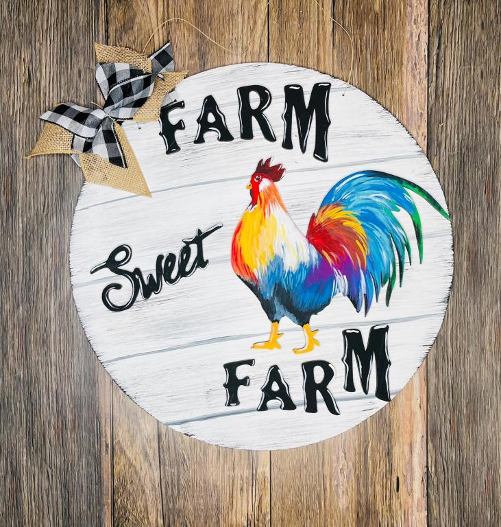farm sweet farm door hanger with colorful rooster and easy diy bow