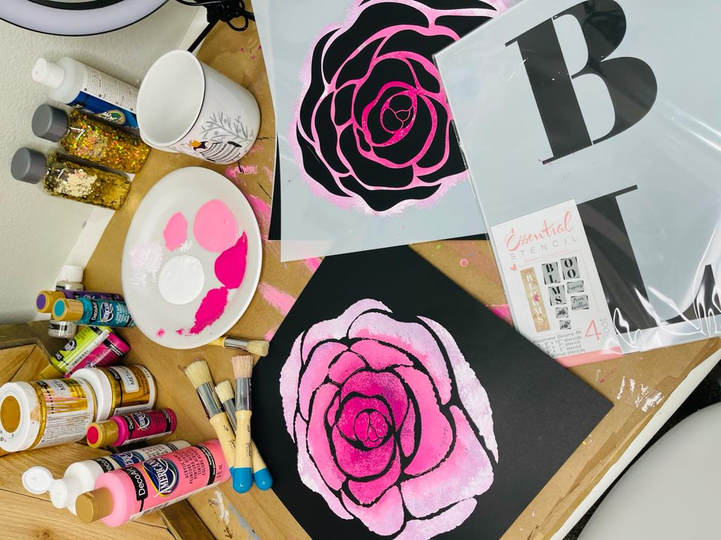 ombre pink rose painting with stencils with stencils, paint and brushes