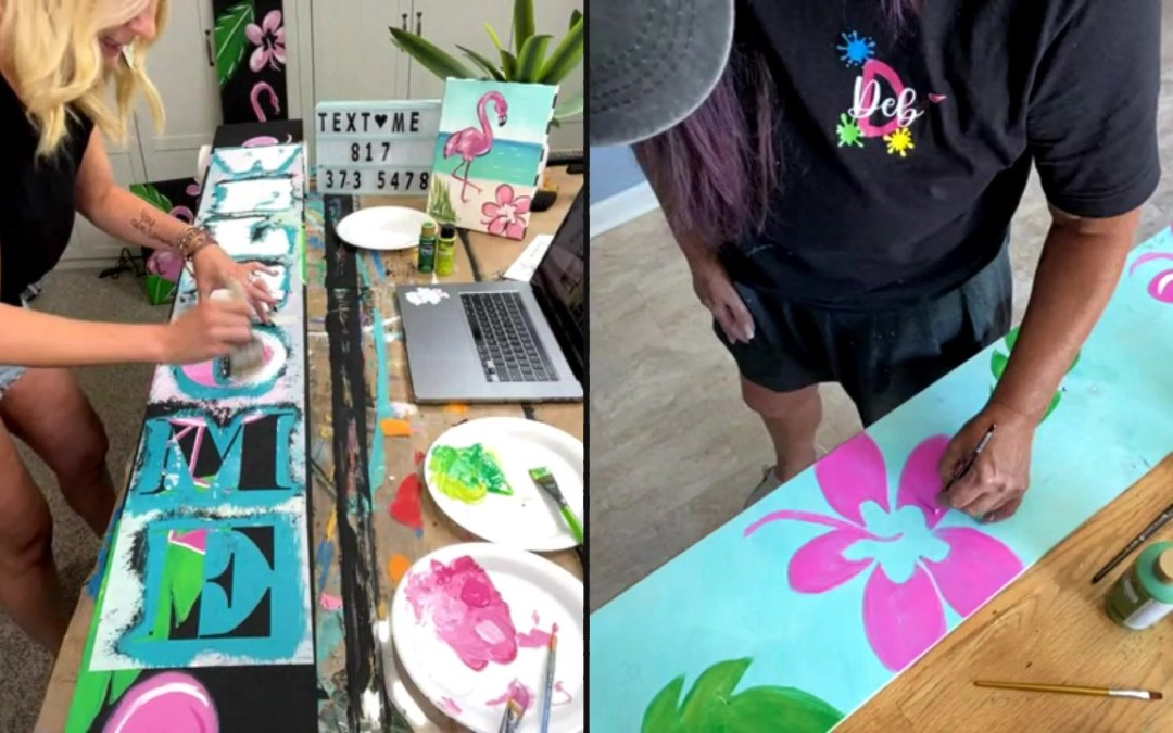 Flamingo Porch Sign Painting Designs for Summer Décor