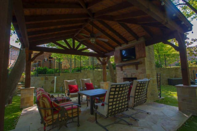 patio cover fireplace texas best