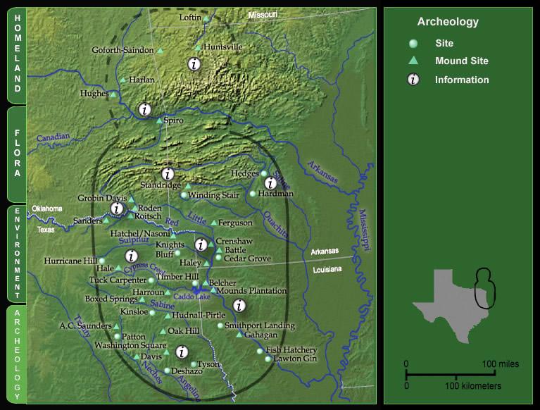 Basic map of Caddoland