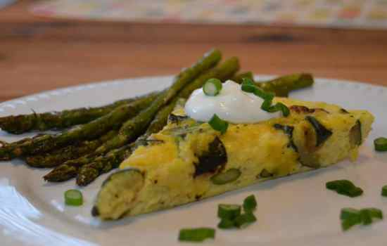 Melted Leek Frittata with Roasted Zucchini & Asparagus