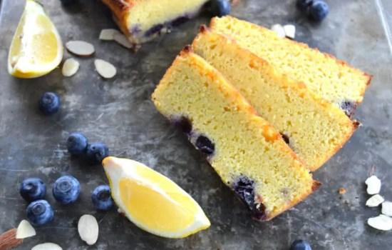 Keto Lemon Pound Cake with Blueberries