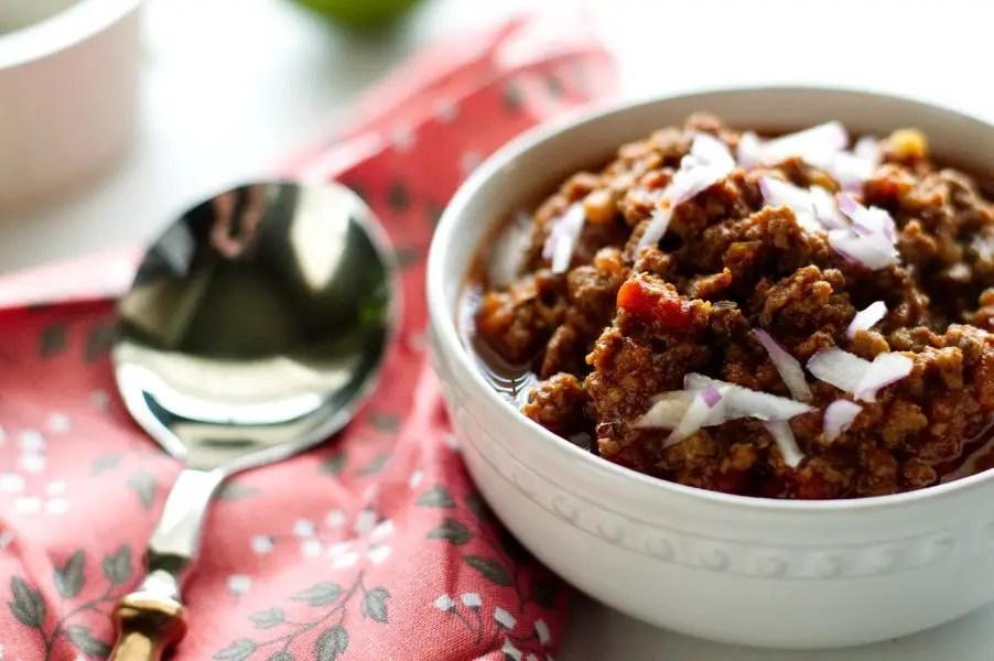 A bowl of Texas Venison Keto Chili - Low Carb Gluten Free
