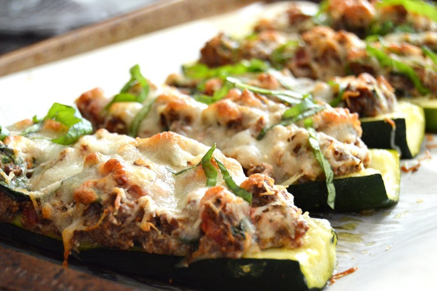 Stuffed Zucchini with Venison & Ricotta Low Carb , keto, Gluten Free