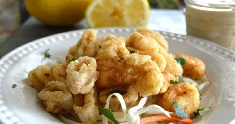 Crispy, Gluten Free, Golden Fried Calamari with Dynamite Dipping Sauce