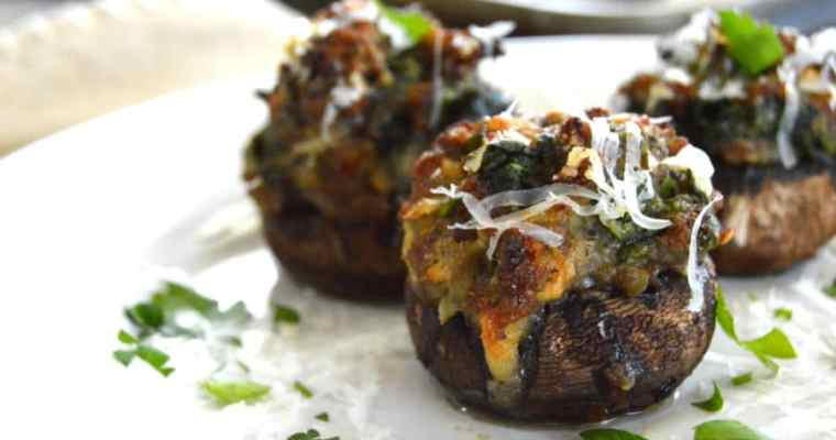 Sausage Stuffed Mushrooms with Spinach