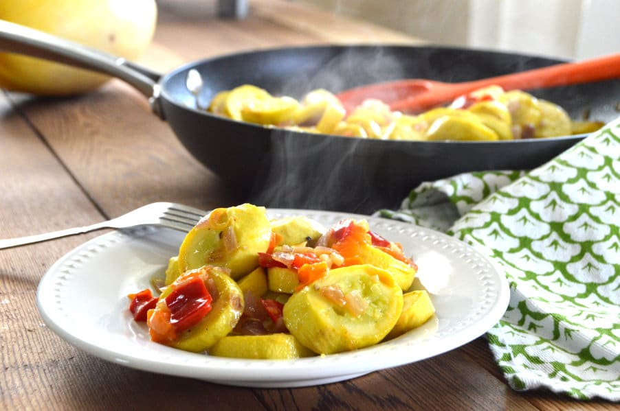Sautéed Summer Squash with Onions & Peppers is the by far one of my favorite summer dishes.