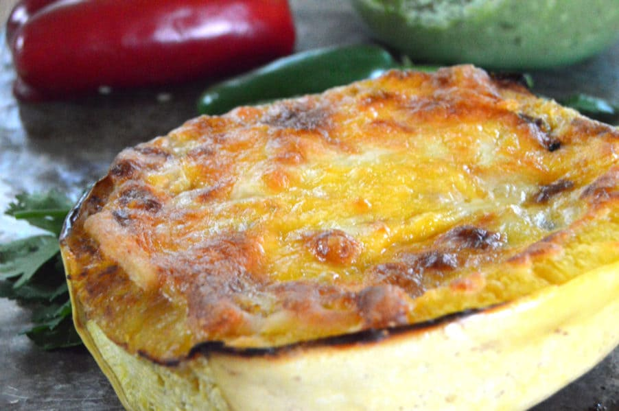 South of the Border Spaghetti squash is loaded with veggies and a creamy, cheesy sauce. Low carb, gluten free