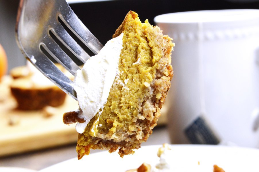 Maple Pecan Low Carb Pumpkin Pie On Fork
