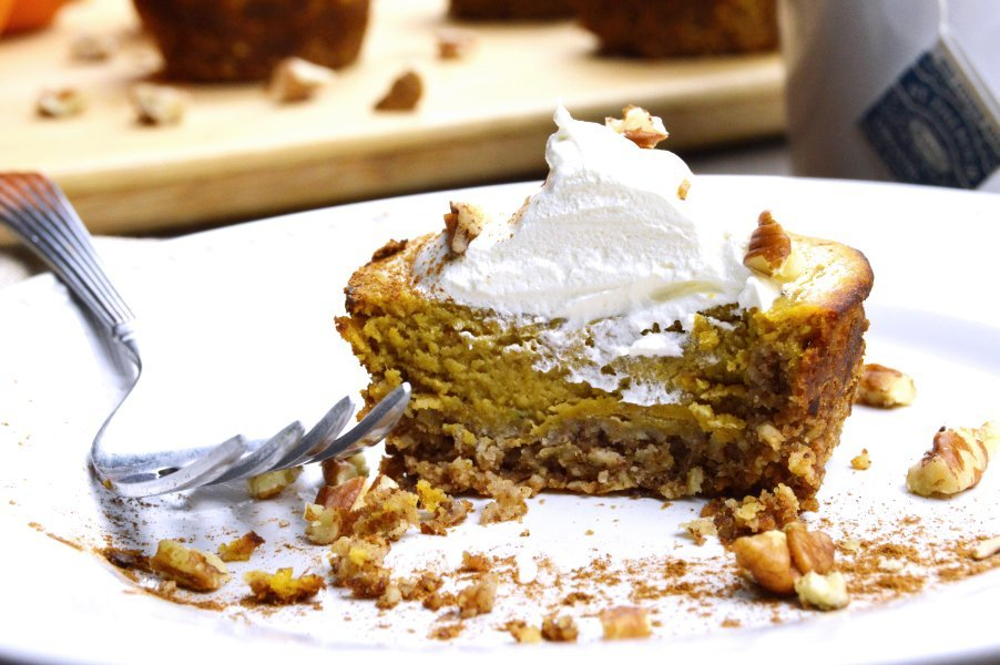 Maple Pecan Low Carb Pumpkin Pie On a Plate