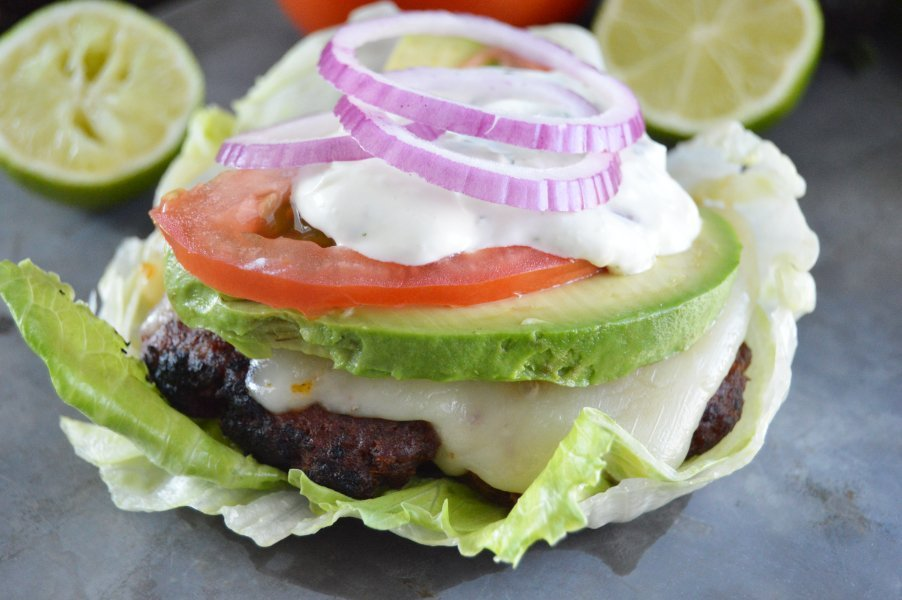 Loaded Chorizo Burgers on lettuce