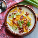 """Creamy Low Carb Loaded Baked """"Potato"""" Soup"""
