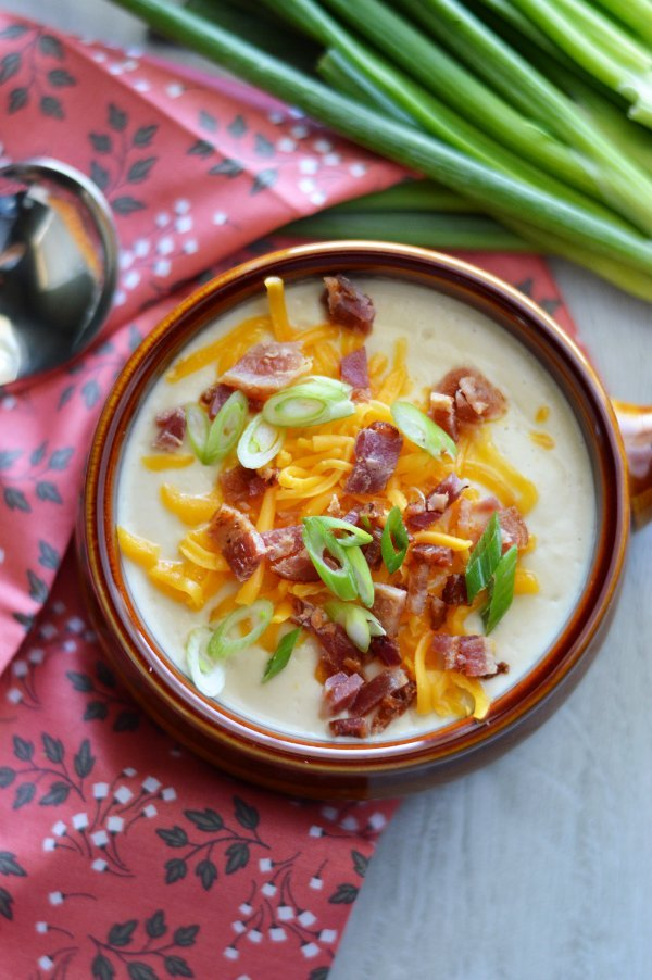 "Creamy Low Carb Loaded Baked ""Potato"" Soup"