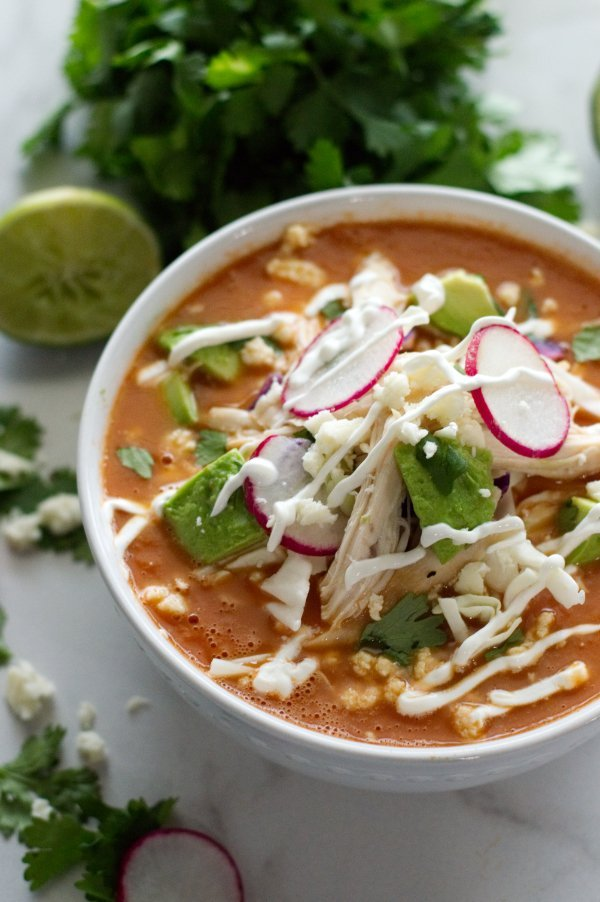 Bowl of Mexican Tomato Soup - Low Carb, Gluten Free