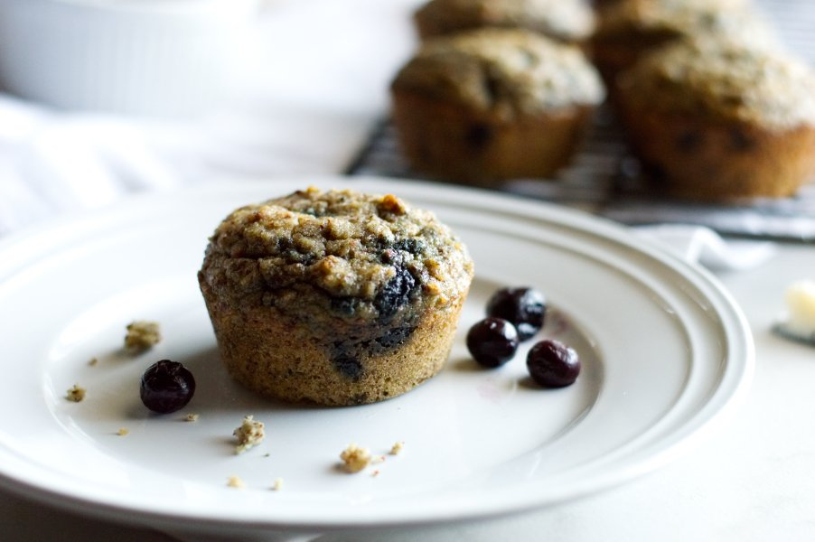 Low Carb & Keto Banana Blueberry Muffins - Grain Free