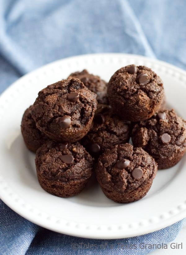 Plate of Double Chocolate Coconut Flour Muffins  - Low carb, keto, dairy free