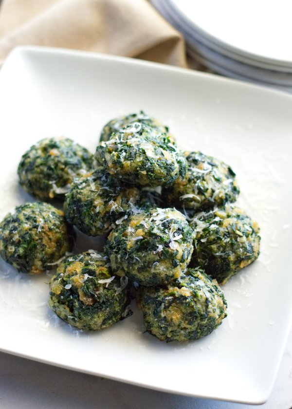 Easy Spinach Balls plated.