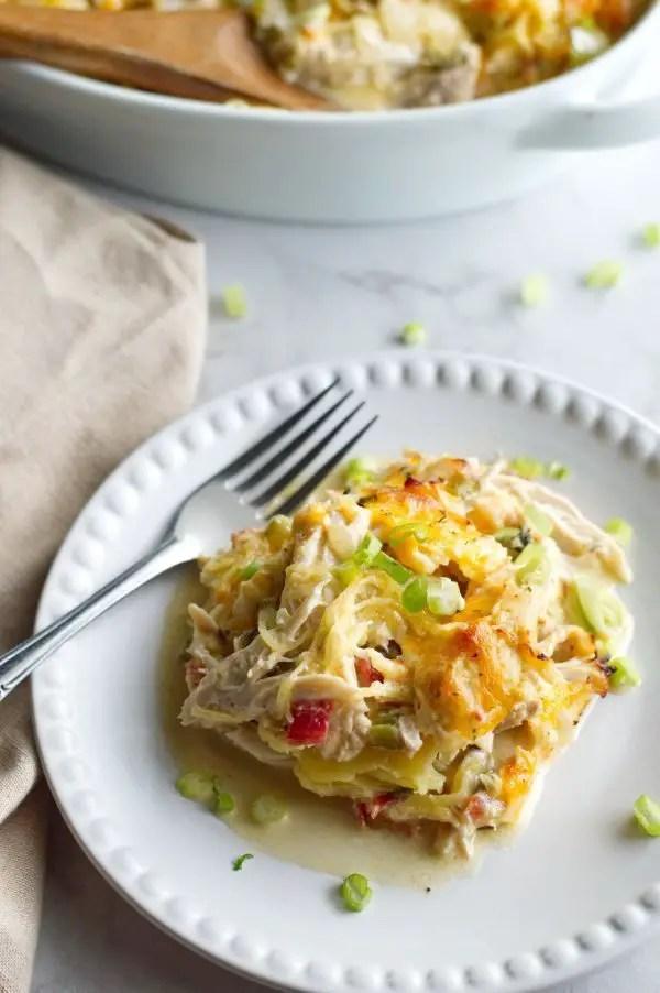 Chicken Spaghetti Casserole plated.