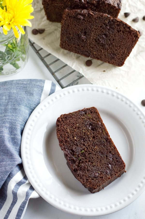 Slice Loaf of Keto  Chocolate Zucchini Bread on plate