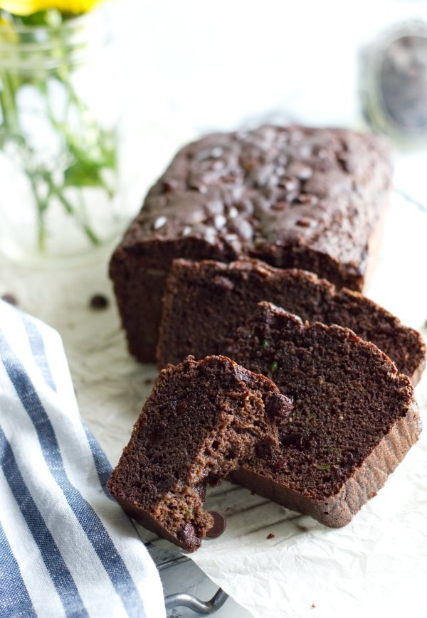 Loaf of Chocolate Cake sliced