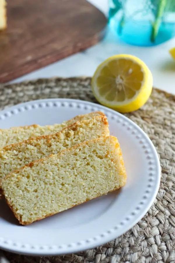 3 Pieces Keto Lemon Cake on Plate