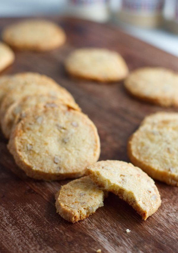 Keto cheese crackers on board