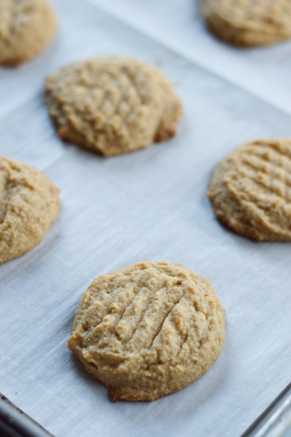 Keto Peanut Butter cookies on a sheet pan
