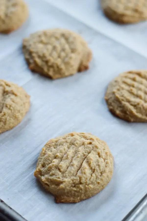 Keto Peanut Butter cookies on a sheet pan