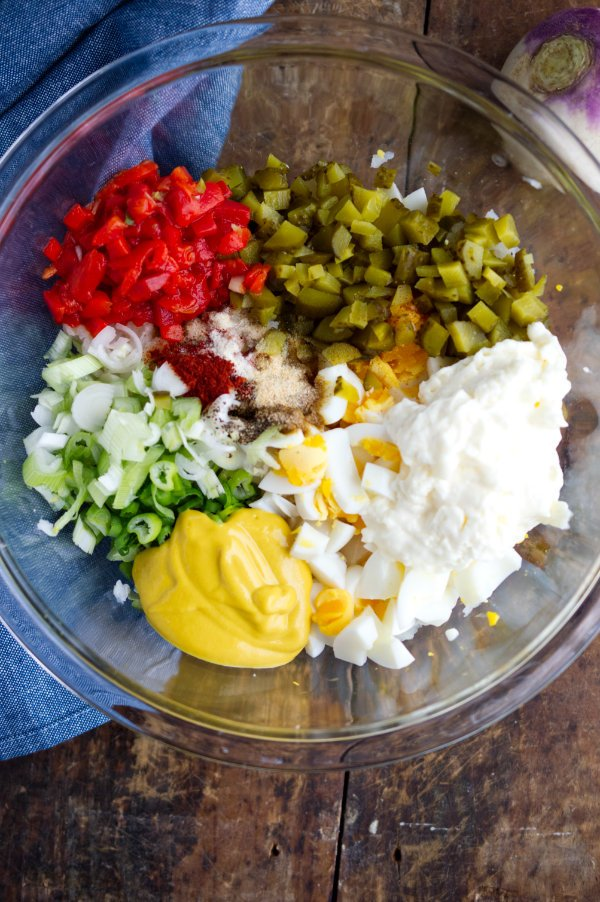 ingredients for keto potato salad in a bowl