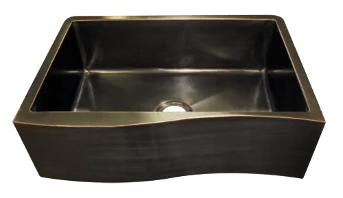 oil rubbed bronze kitchen sink country style custom sinks made to order texas lightsmith venetian wave apron front single basin farmhouse