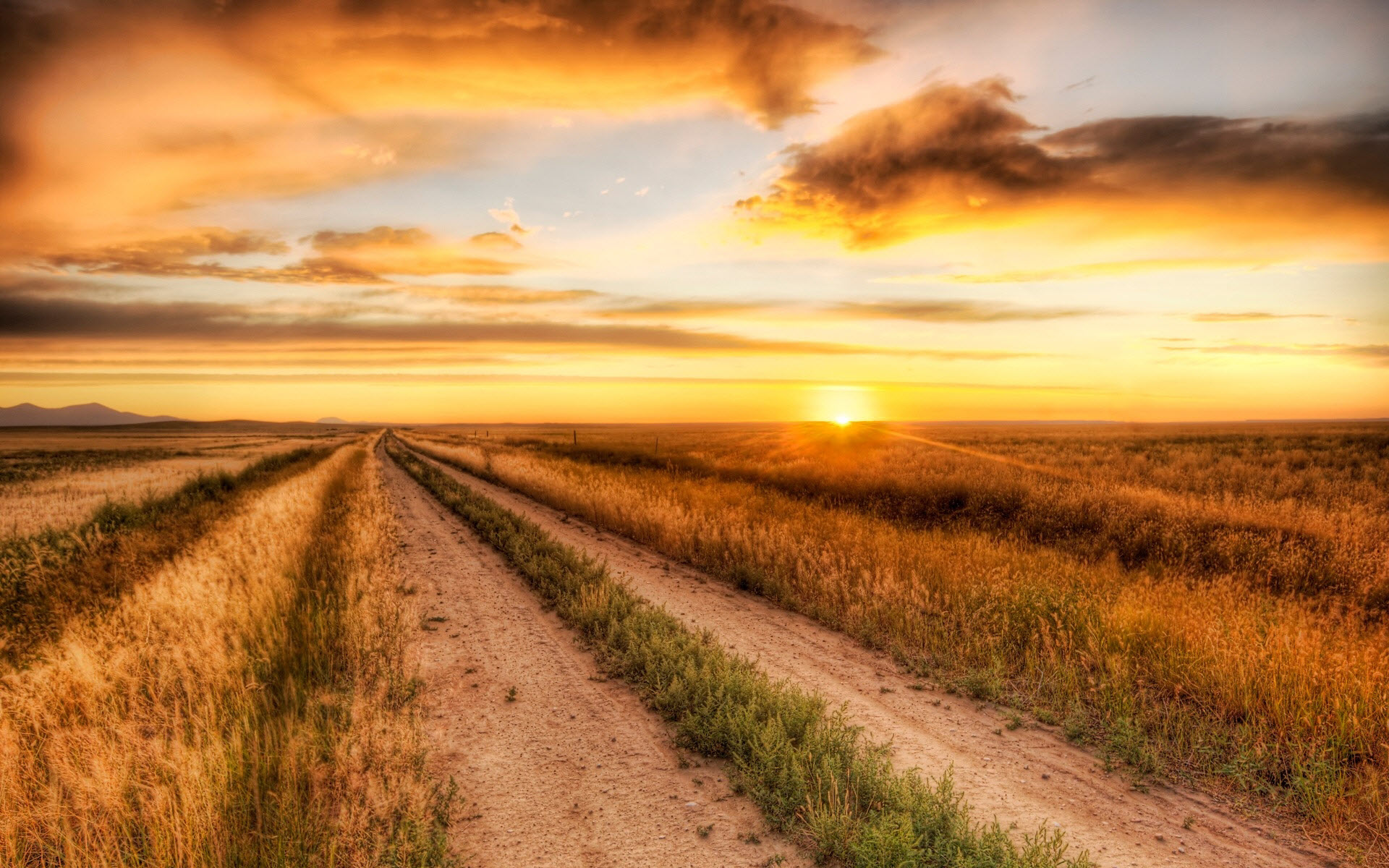 Dirt Road Sunset Wallpaper Background For Pc