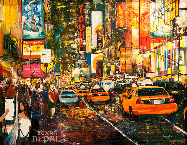 """""""Beyond the light, NY"""" painting by Arjoon KC"""