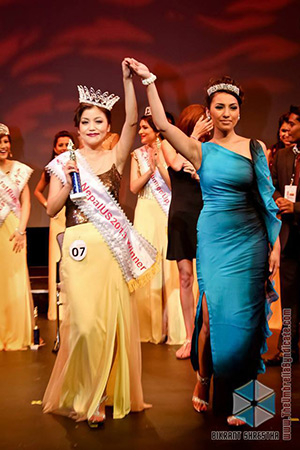 Bartika Rai with Astha Shrestha, Miss Nepal US 2012